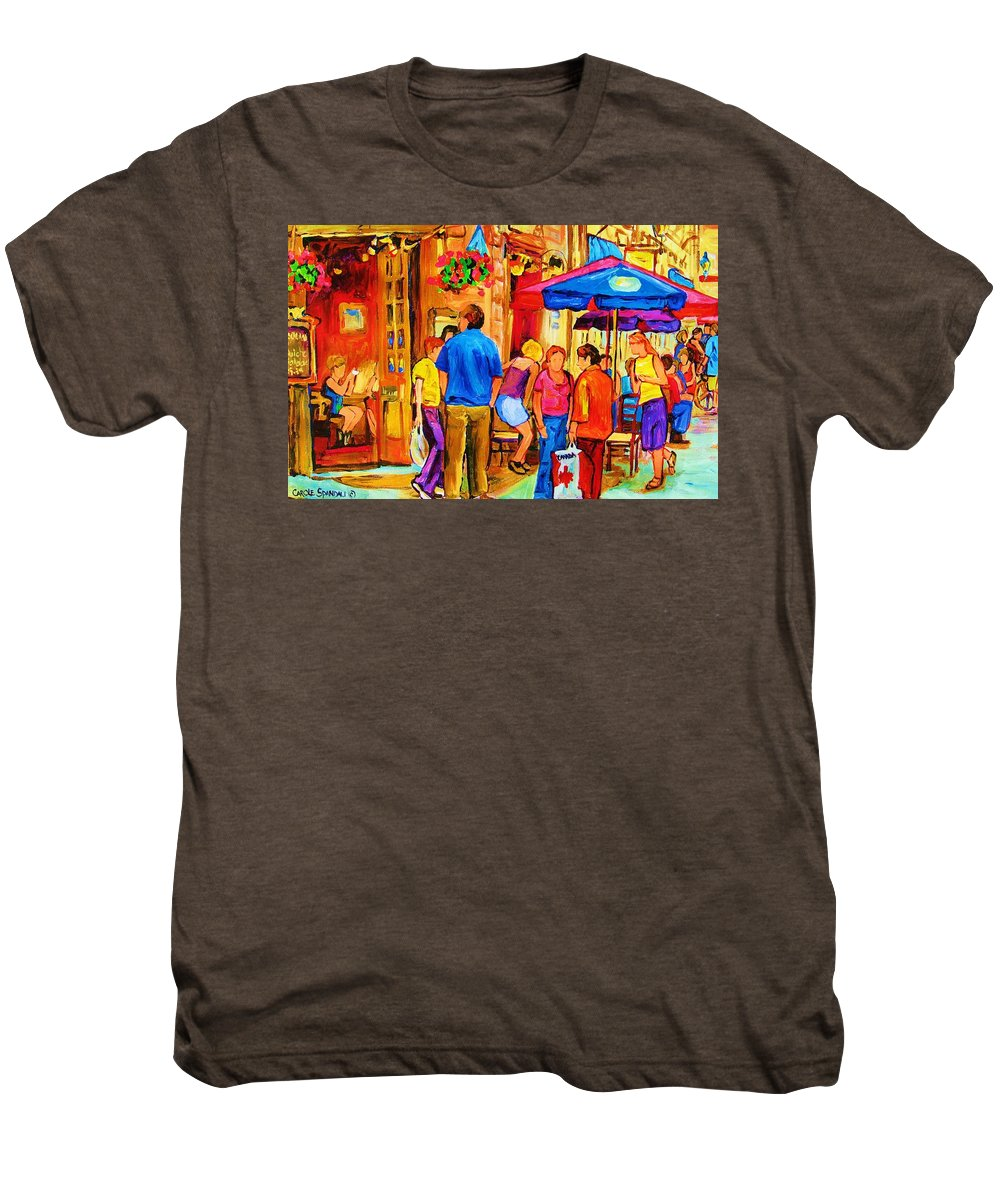 Montreal Cafe Scenes Men's Premium T-Shirt featuring the painting Girl In The Cafe by Carole Spandau