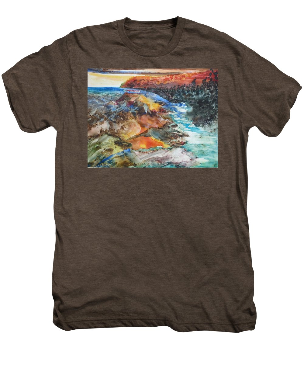 Abstract Men's Premium T-Shirt featuring the painting Glacial Meltdown by Ruth Kamenev