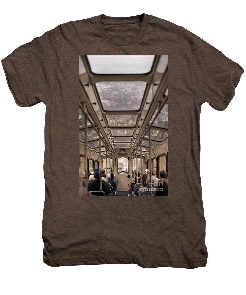 Cable Car Men's Premium T-Shirt featuring the photograph Going Down by Richard Rizzo