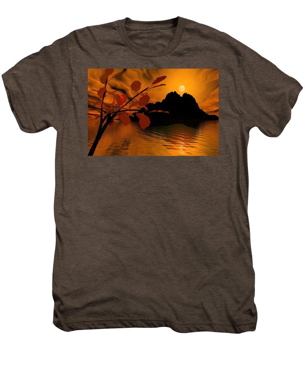 Landscape Men's Premium T-Shirt featuring the digital art Golden Slumber Fills My Dreams. by David Lane