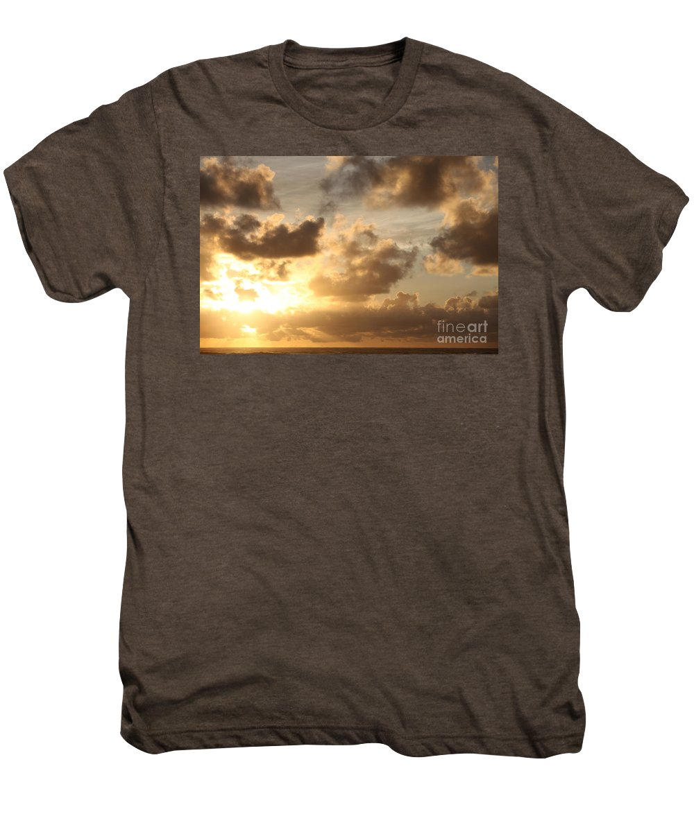 Sunrise Men's Premium T-Shirt featuring the photograph Golden Sunrise On Kauai by Nadine Rippelmeyer