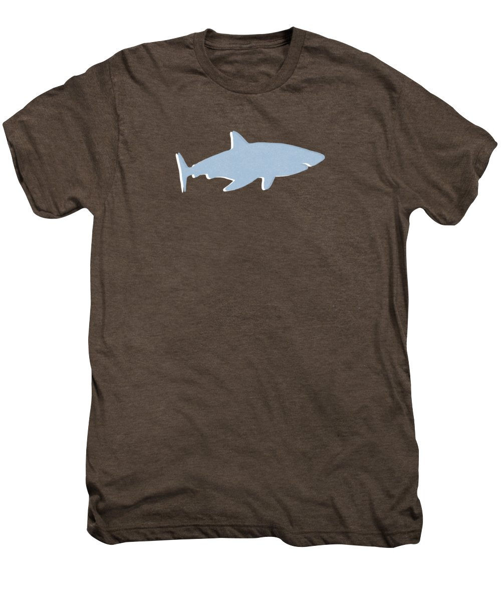 Shark Men's Premium T-Shirt featuring the mixed media Grey And Yellow Shark by Linda Woods