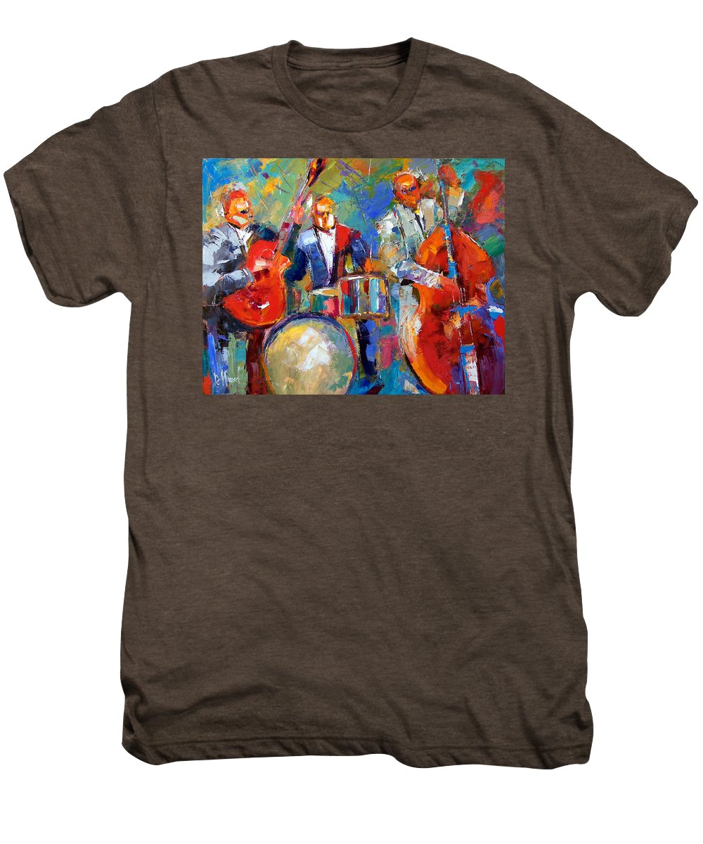 Jazz Painting Men's Premium T-Shirt featuring the painting Guitar Drums And Bass by Debra Hurd