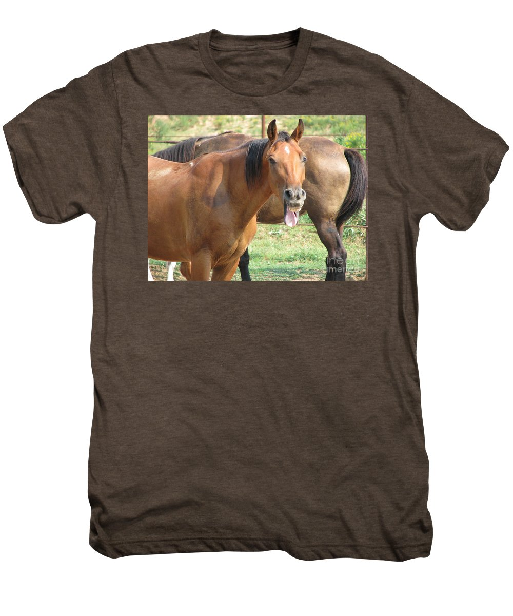 Horse Men's Premium T-Shirt featuring the photograph Haaaaa by Amanda Barcon