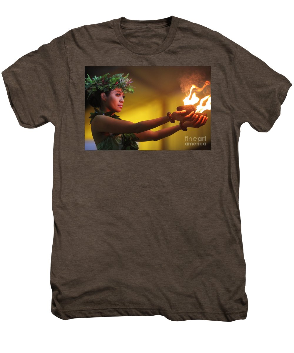 Fire Men's Premium T-Shirt featuring the photograph Hawaiian Dancer And Firepots by Nadine Rippelmeyer