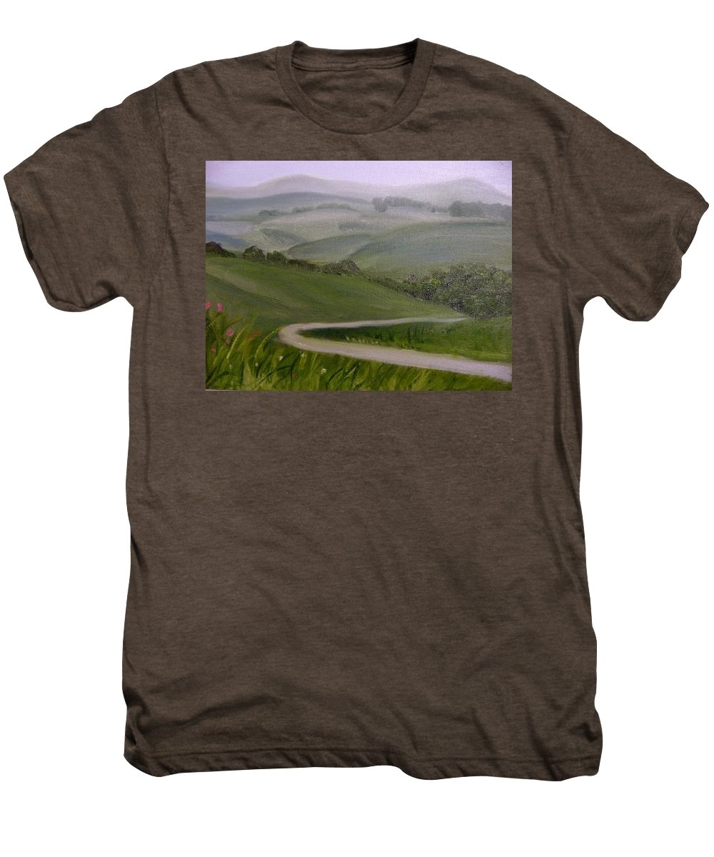 Pathway Men's Premium T-Shirt featuring the painting Highway Into The Hills by Toni Berry