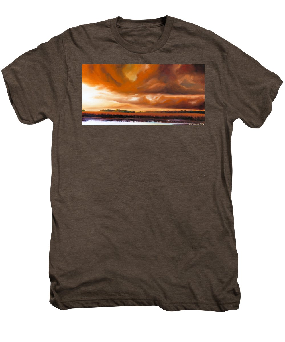 Clouds Men's Premium T-Shirt featuring the painting Jetties On The Shore by James Christopher Hill
