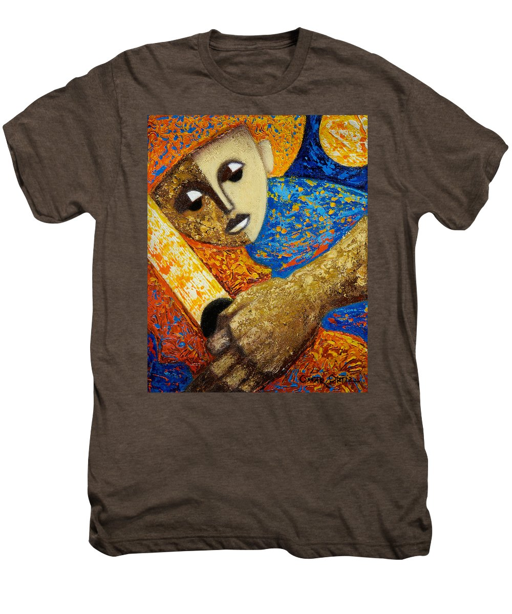 Color Men's Premium T-Shirt featuring the painting Jibaro Y Sol by Oscar Ortiz
