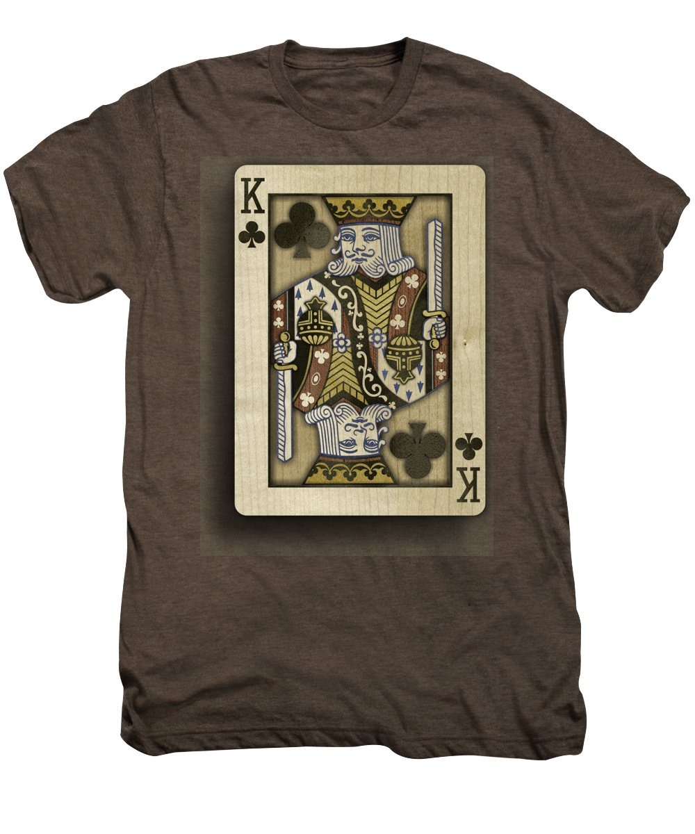 Game Men's Premium T-Shirt featuring the photograph King Of Clubs In Wood by YoPedro