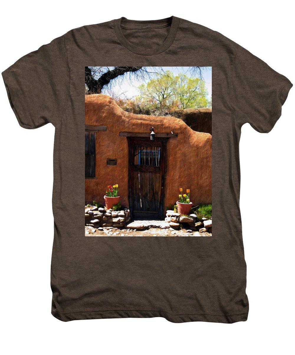 Door Men's Premium T-Shirt featuring the photograph La Puerta Marron Vieja - The Old Brown Door by Kurt Van Wagner