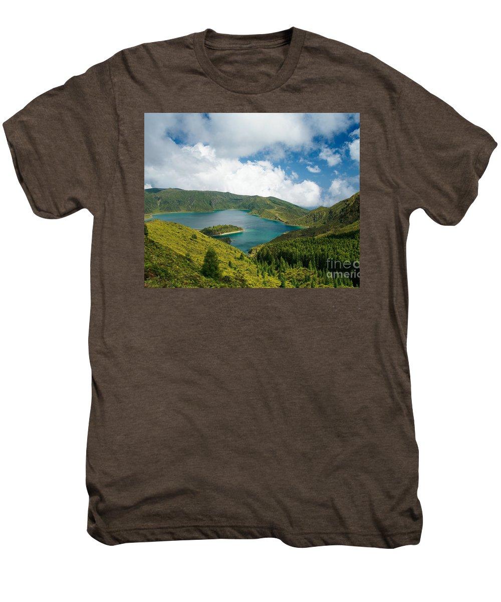 Lagoa Do Fogo Men's Premium T-Shirt featuring the photograph Lagoa Do Fogo by Gaspar Avila