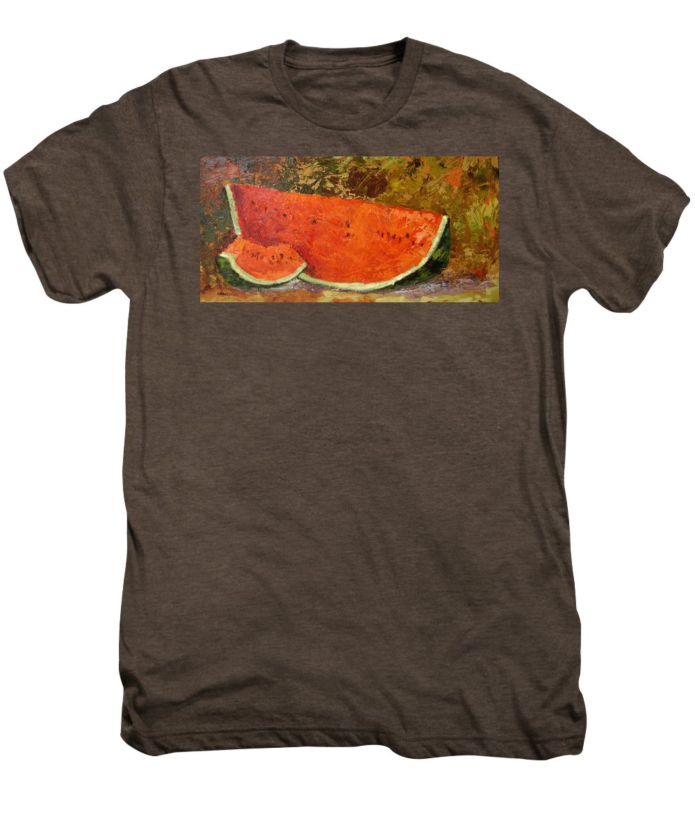 Watermelon Men's Premium T-Shirt featuring the painting Last Of Summer by Ginger Concepcion
