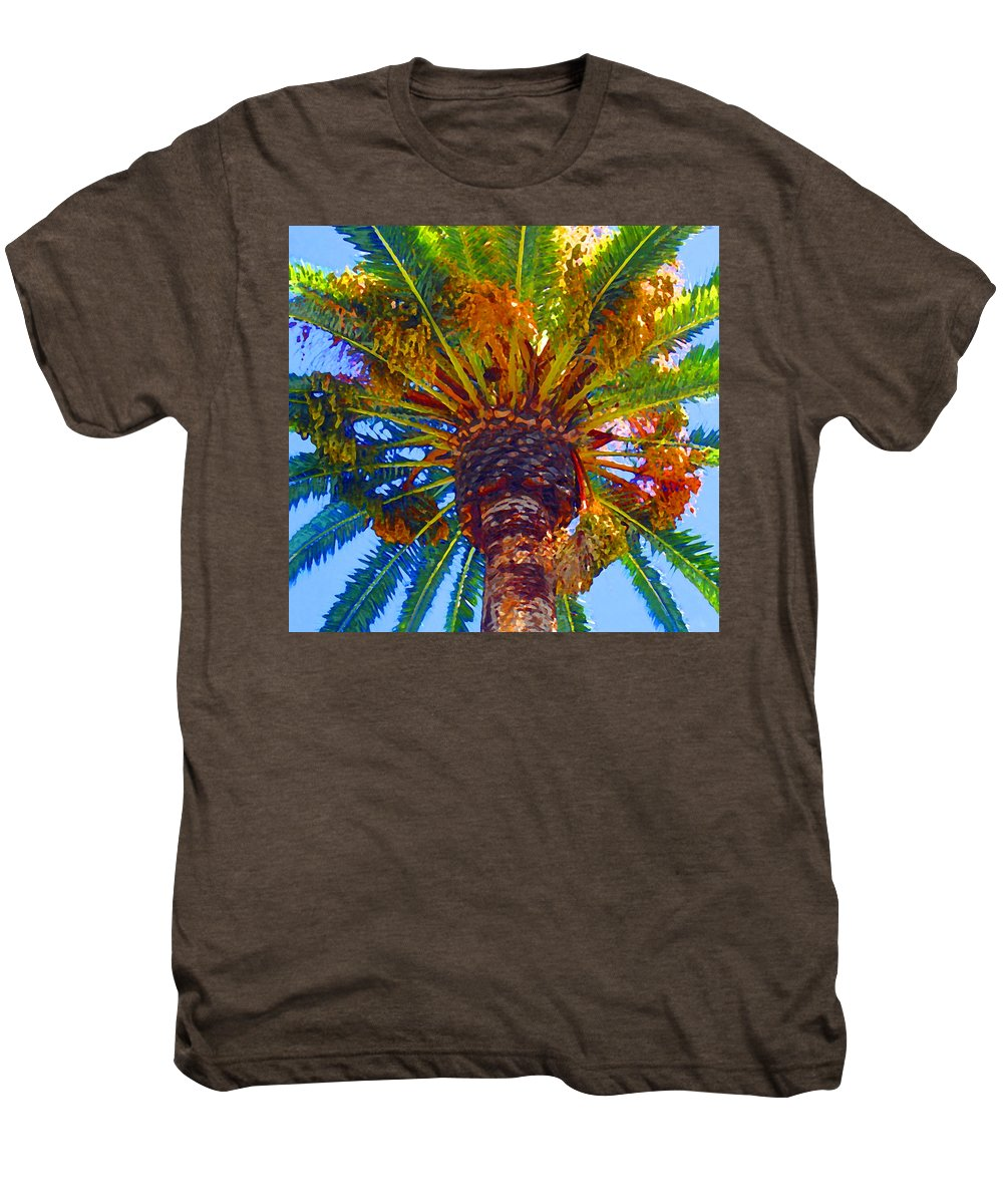 Garden Men's Premium T-Shirt featuring the painting Looking Up At Palm Tree by Amy Vangsgard