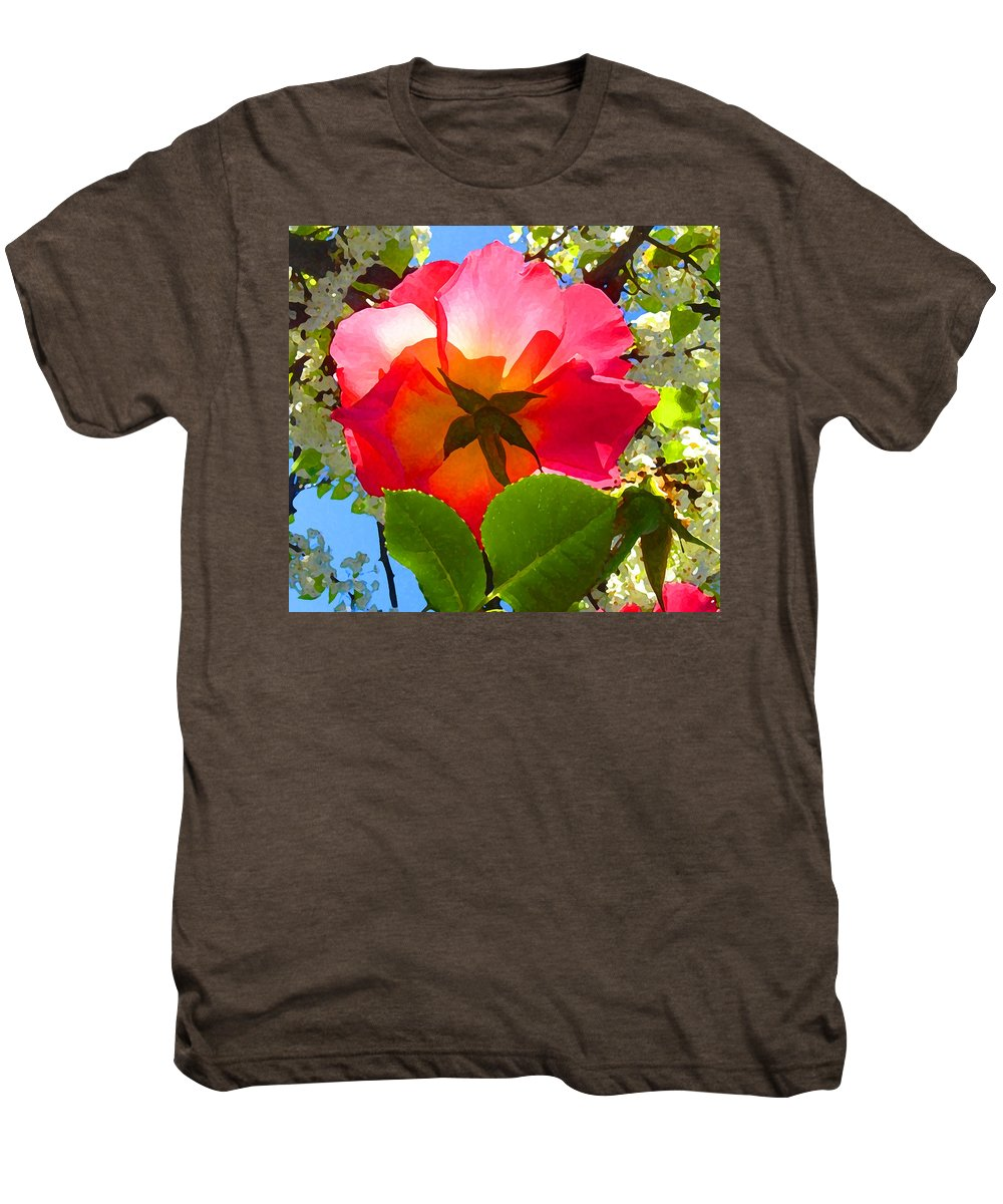 Roses Men's Premium T-Shirt featuring the photograph Looking Up At Rose And Tree by Amy Vangsgard