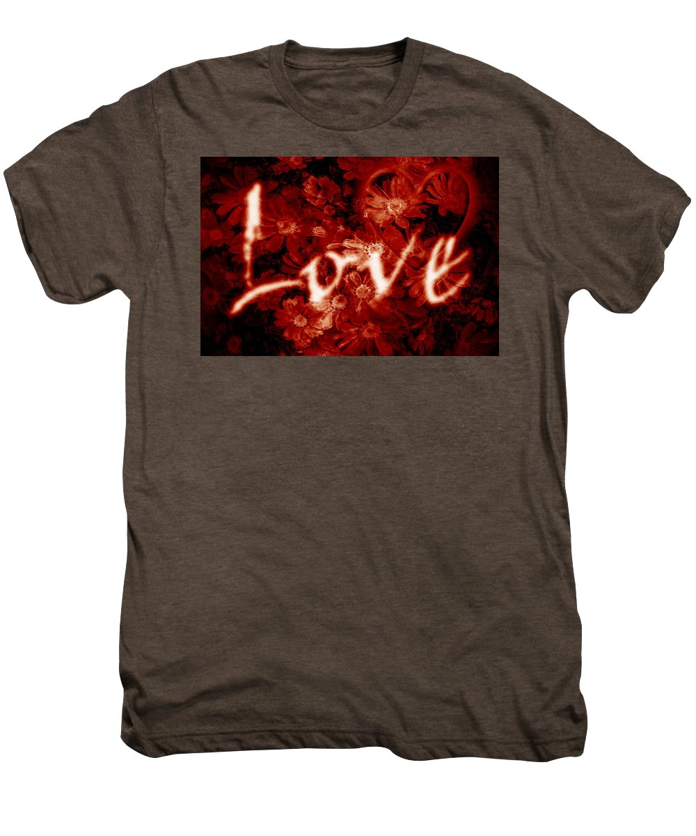Love Men's Premium T-Shirt featuring the photograph Love With Flowers by Phill Petrovic