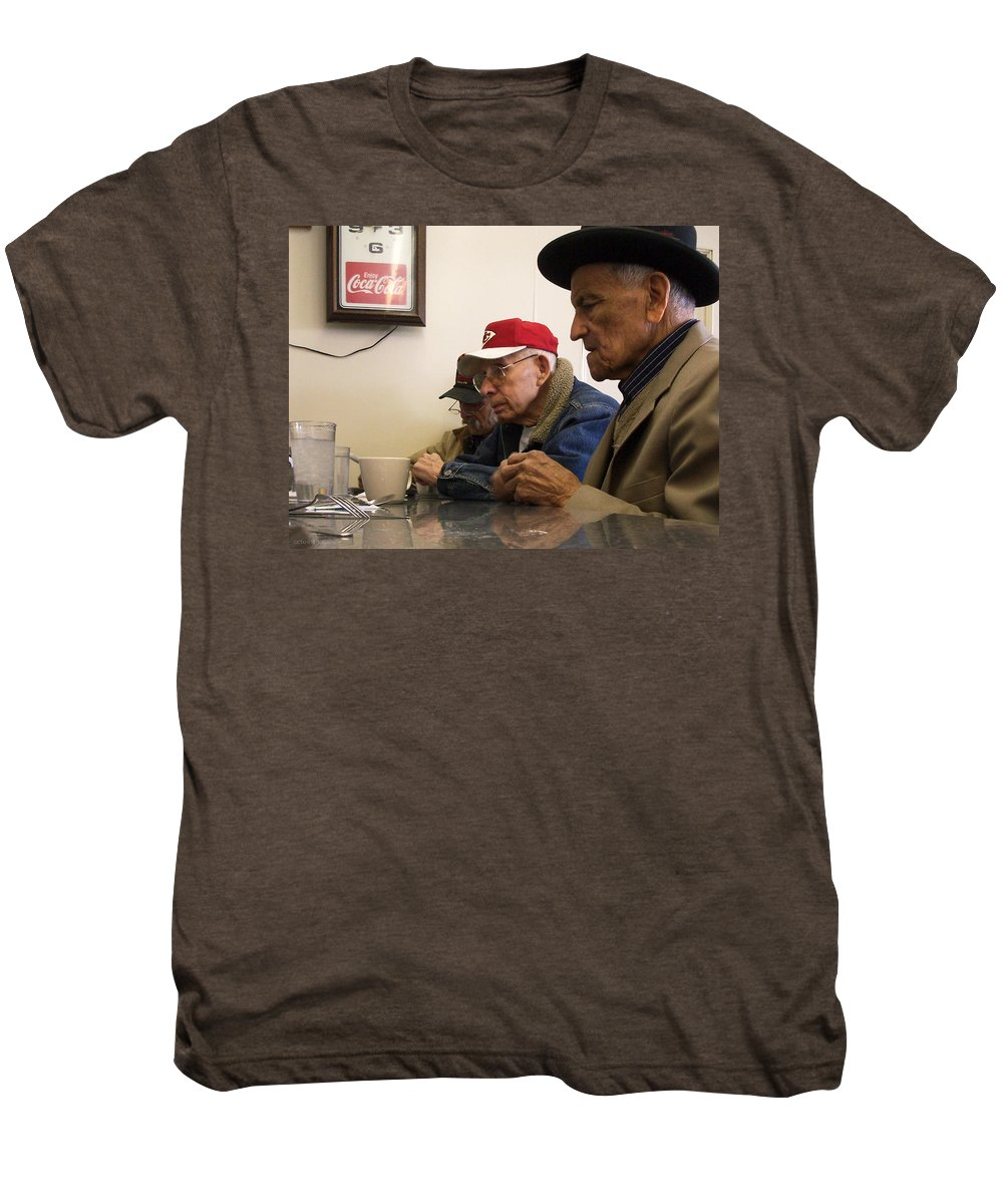 Diner Men's Premium T-Shirt featuring the photograph Lunch Counter Boys by Tim Nyberg