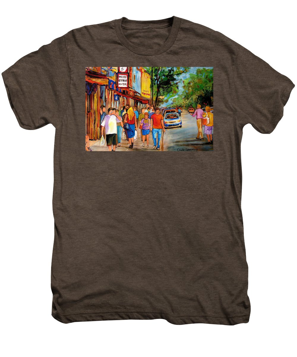 Montreal Streetscenes Men's Premium T-Shirt featuring the painting Lunchtime On Mainstreet by Carole Spandau