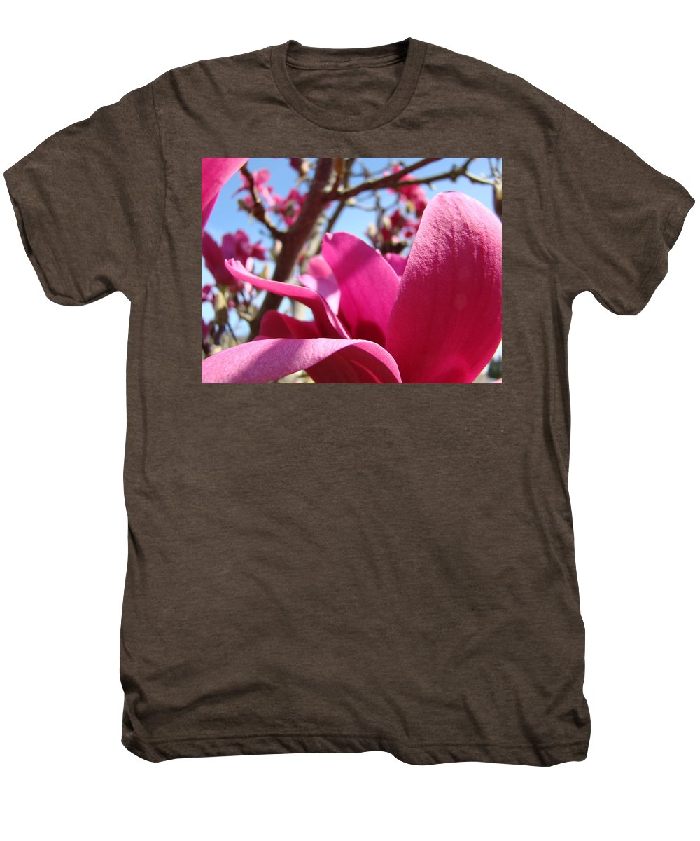 Magnolia Men's Premium T-Shirt featuring the photograph Magnolia Tree Pink Magnoli Flowers Artwork Spring by Baslee Troutman