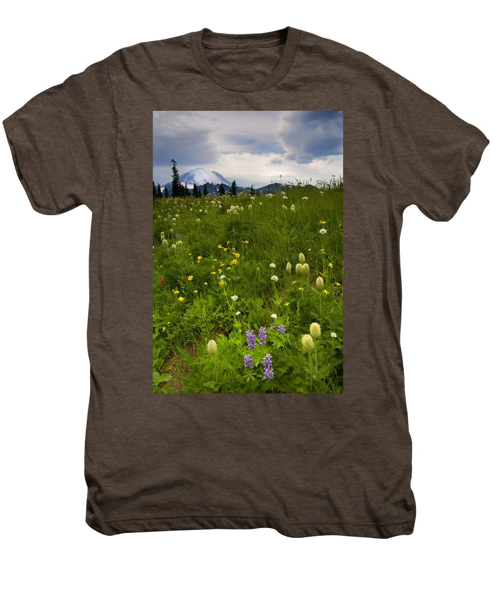 Rainier Men's Premium T-Shirt featuring the photograph Meadow Beneath The Storm by Mike Dawson