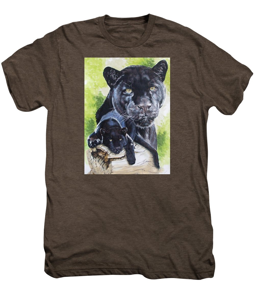 Big Cat Men's Premium T-Shirt featuring the mixed media Melancholy by Barbara Keith
