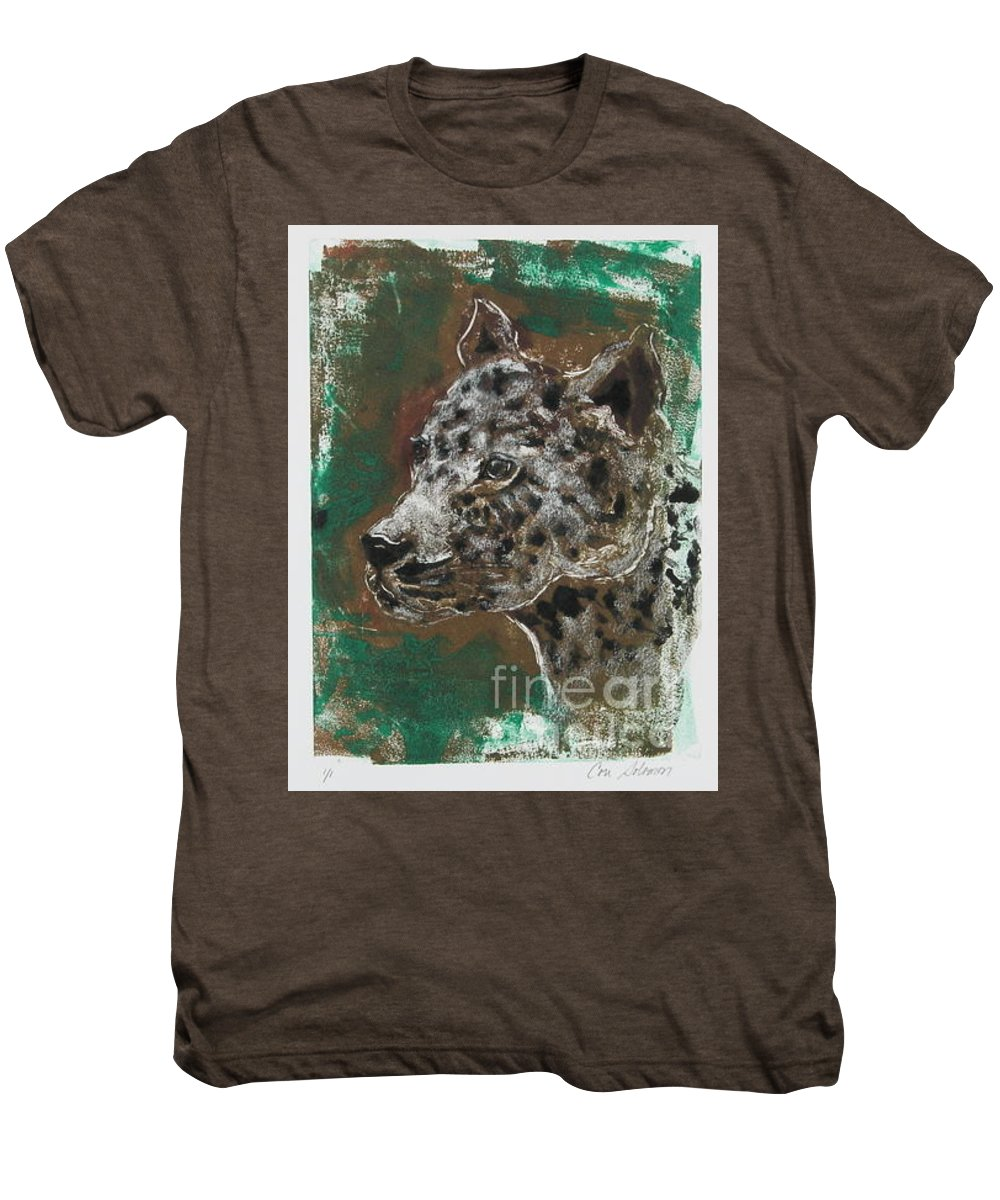 Monotype Men's Premium T-Shirt featuring the mixed media Midnight Prowler by Cori Solomon