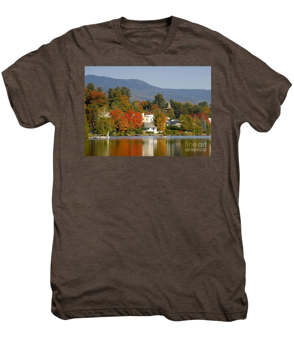 Adirondack Mountains Men's Premium T-Shirt featuring the photograph Mirror Lake by David Lee Thompson