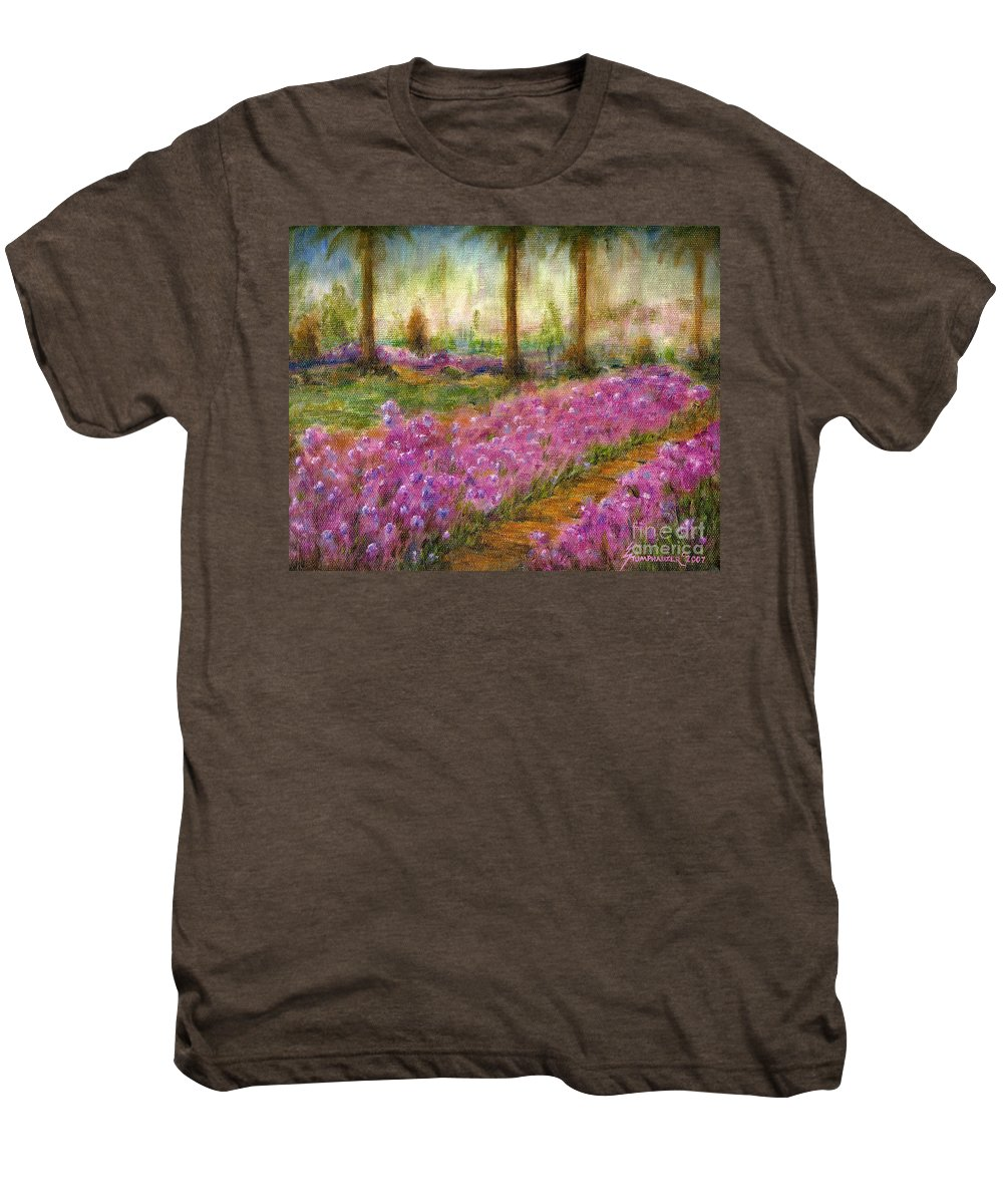 Monet Men's Premium T-Shirt featuring the painting Monet's Garden In Cannes by Jerome Stumphauzer