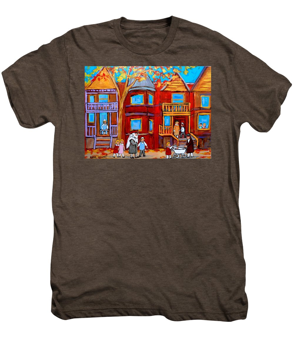 Outremont Men's Premium T-Shirt featuring the painting Montreal Memories Of Zaida And The Family by Carole Spandau