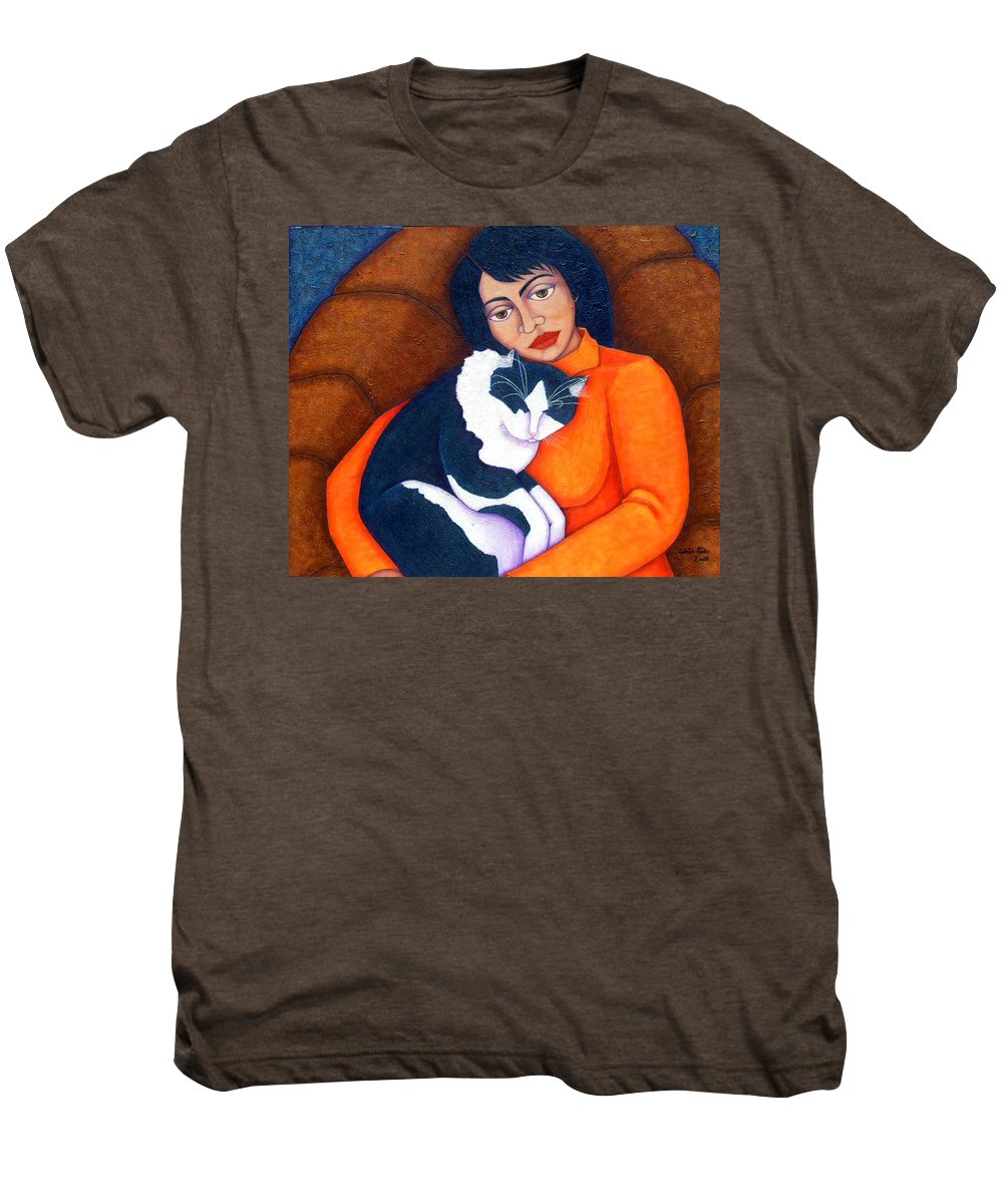 Woman Men's Premium T-Shirt featuring the painting Morgana With Woman by Madalena Lobao-Tello