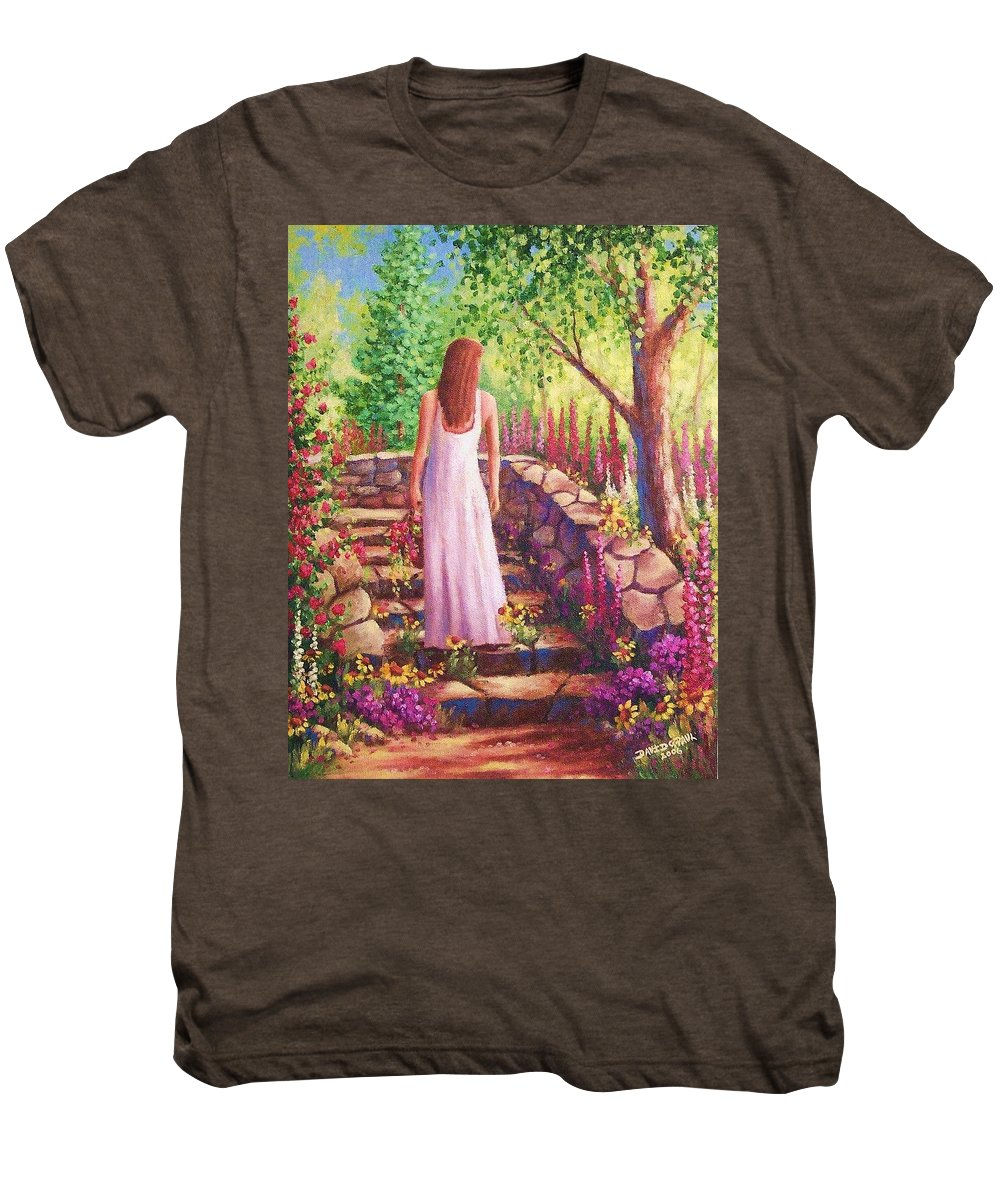 Woman Men's Premium T-Shirt featuring the painting Morning In Her Garden by David G Paul
