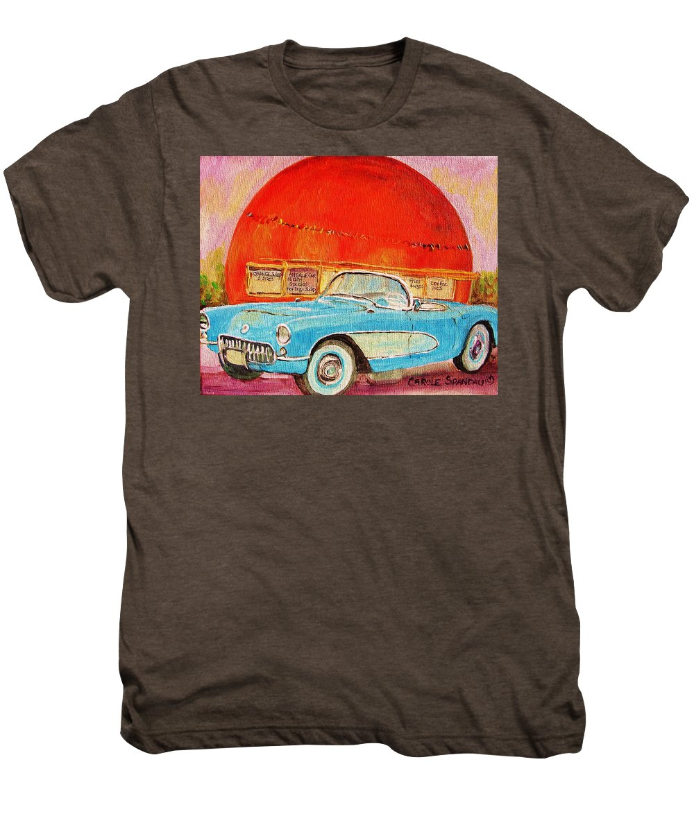 Montreal Men's Premium T-Shirt featuring the painting My Blue Corvette At The Orange Julep by Carole Spandau