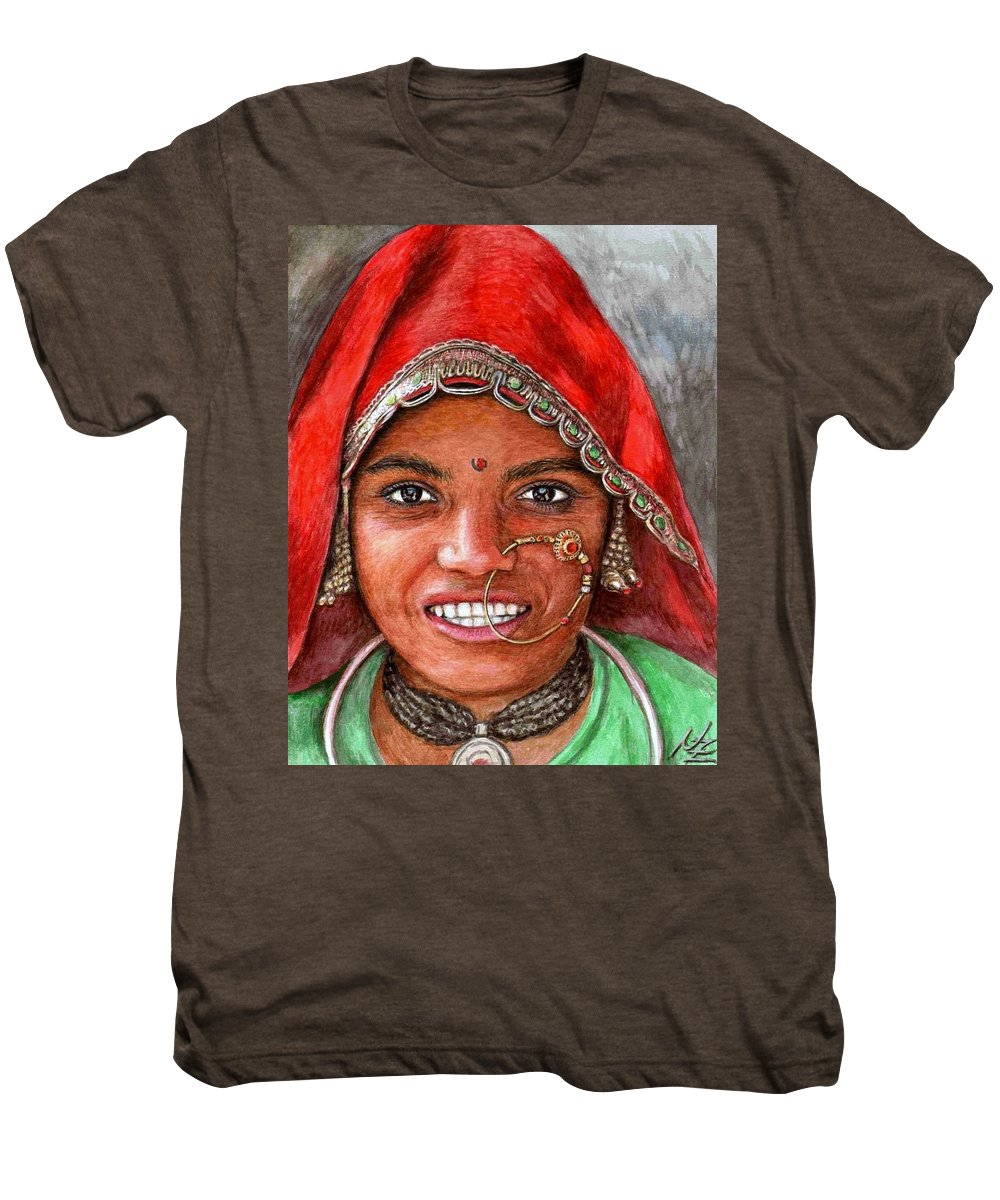 Woma Men's Premium T-Shirt featuring the painting Northindian Woman by Nicole Zeug