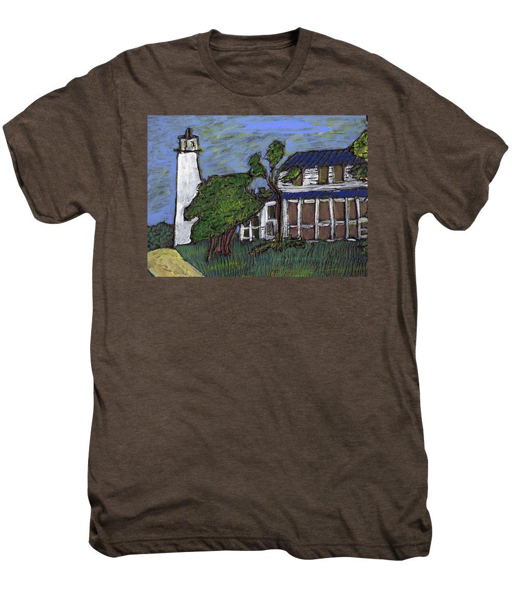 Light House Men's Premium T-Shirt featuring the painting Ocracoke Island Light House by Wayne Potrafka
