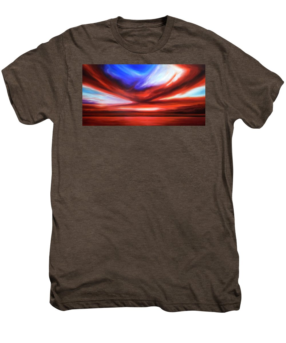 Sunrise; Sunset; Power; Glory; Cloudscape; Skyscape; Purple; Red; Blue; Stunning; Landscape; James C. Hill; James Christopher Hill; Jameshillgallery.com; Ocean; Lakes; Storm; Tornado; Lightning Men's Premium T-Shirt featuring the painting October Sky V by James Christopher Hill