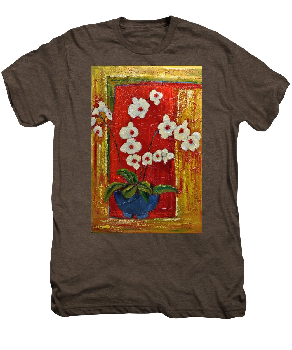 Orchids Men's Premium T-Shirt featuring the painting Ode To Orchids by Ginger Concepcion