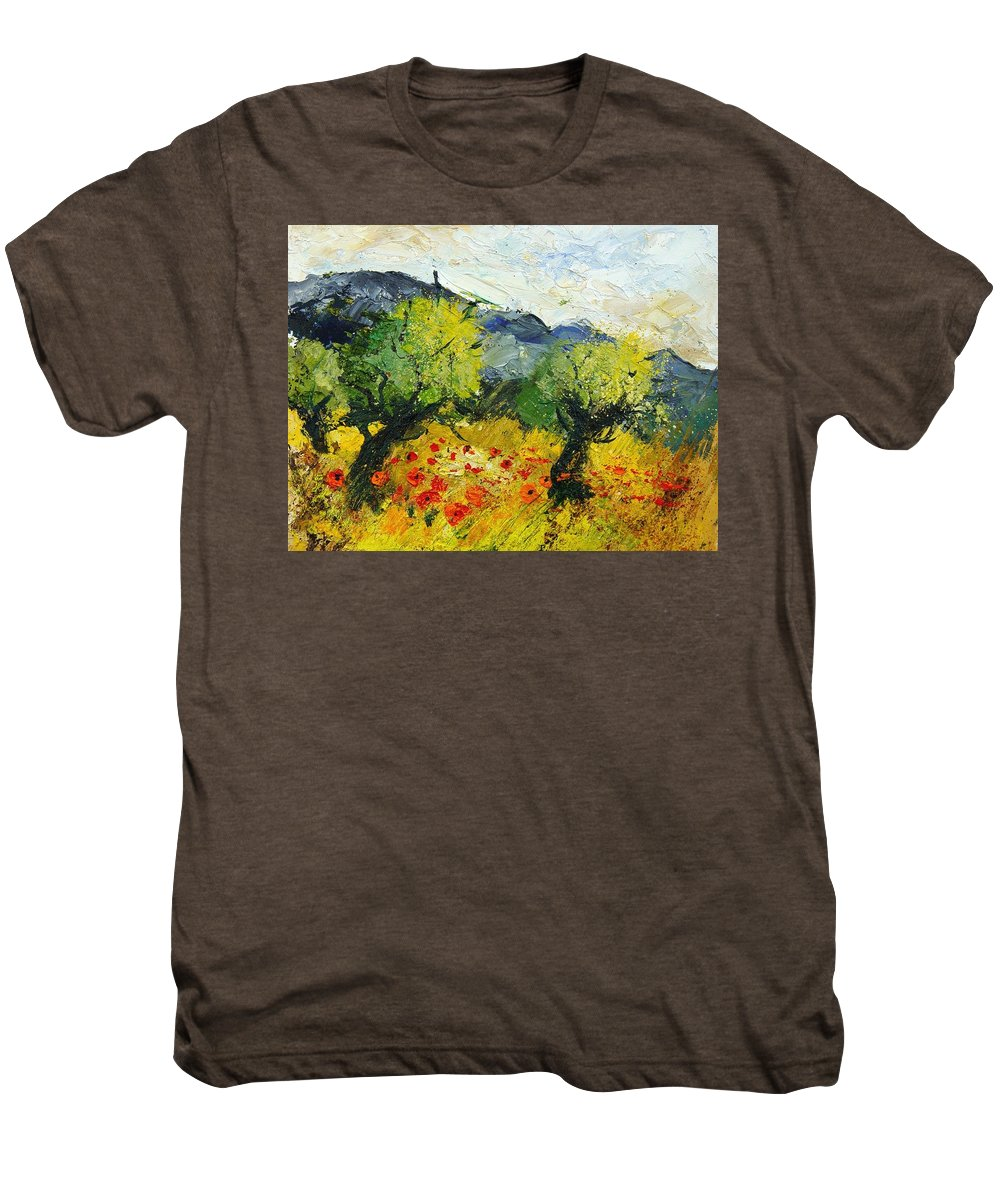 Flowers Men's Premium T-Shirt featuring the painting Olive Trees And Poppies by Pol Ledent