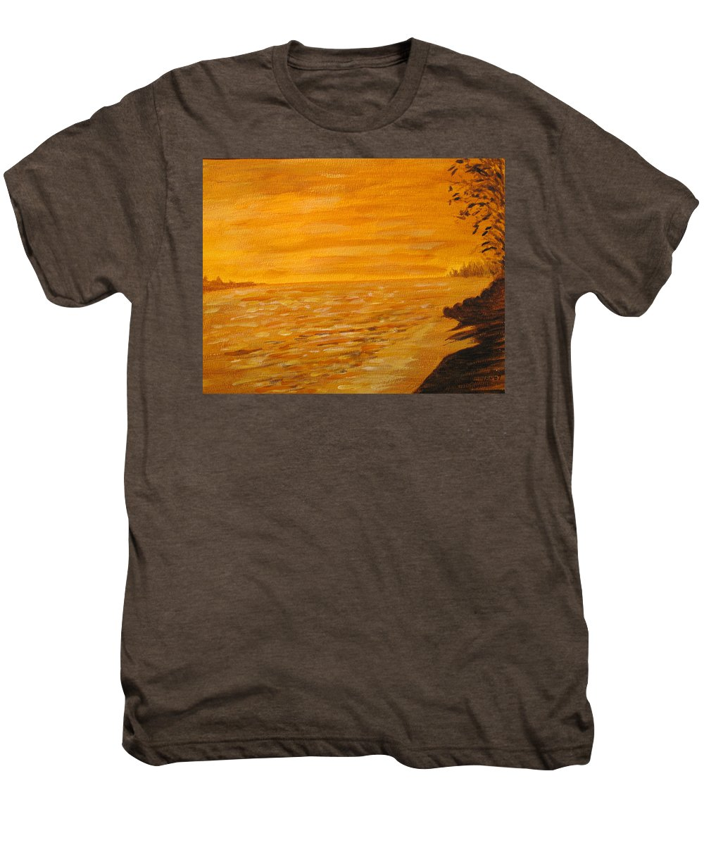 Ocean Men's Premium T-Shirt featuring the painting Orange Beach by Ian MacDonald