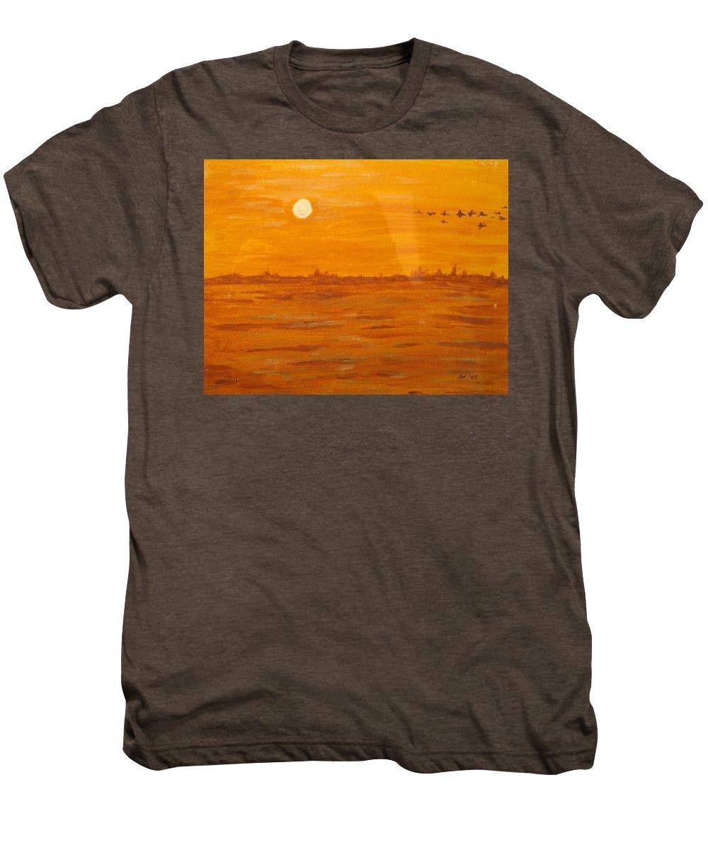 Orange Men's Premium T-Shirt featuring the painting Orange Ocean by Ian MacDonald