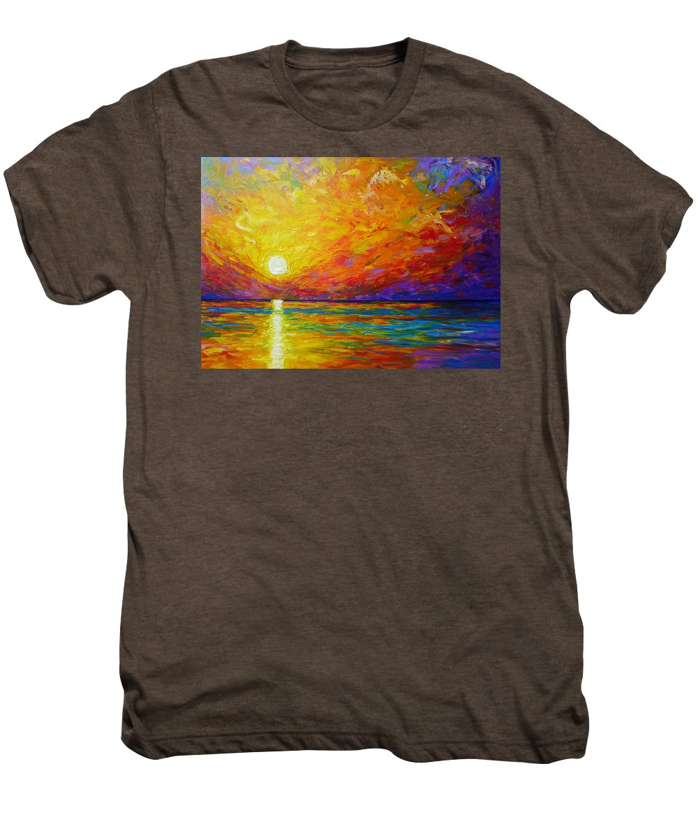 Landscape Men's Premium T-Shirt featuring the painting Orange Sunset by Ericka Herazo