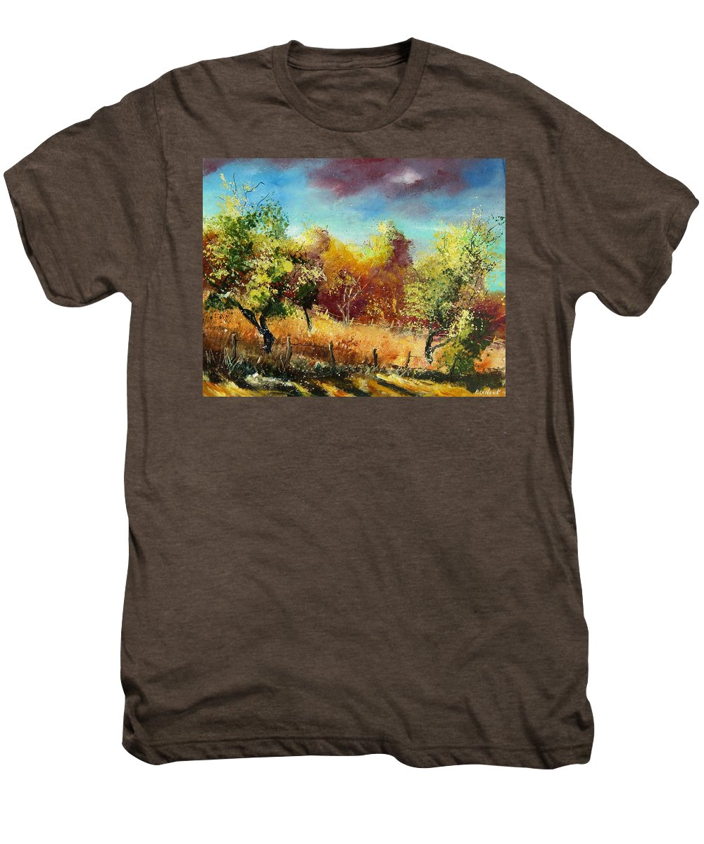 Flowers Men's Premium T-Shirt featuring the painting Orchard by Pol Ledent