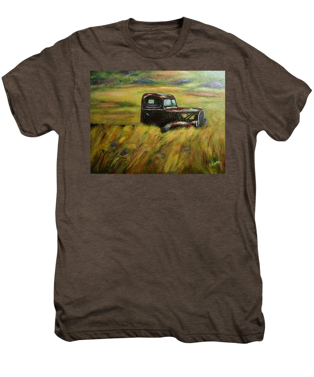Vintage Truck Men's Premium T-Shirt featuring the painting Out To Pasture by Gail Kirtz