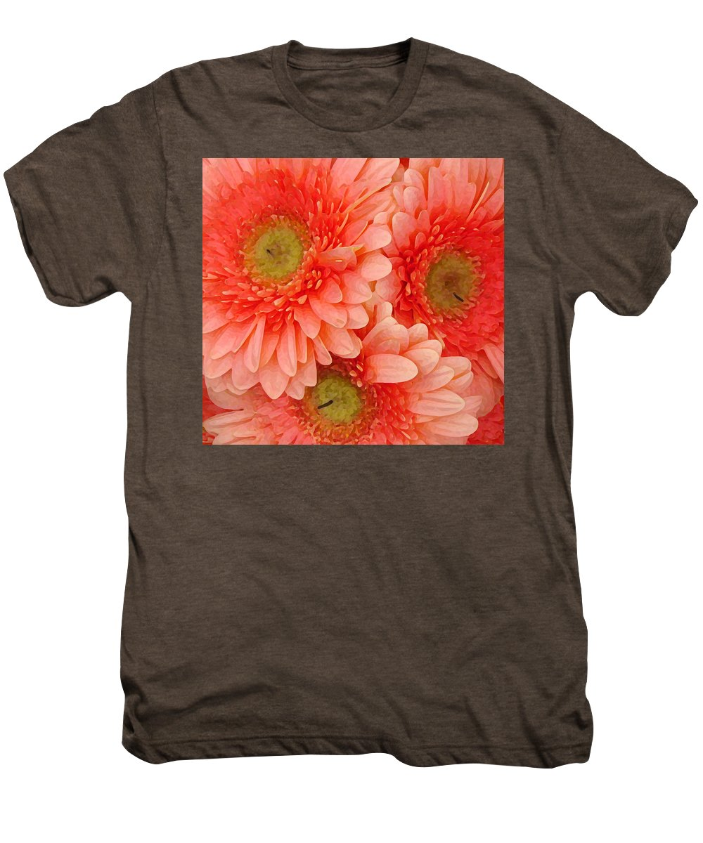 Floral Men's Premium T-Shirt featuring the painting Peach Gerbers by Amy Vangsgard