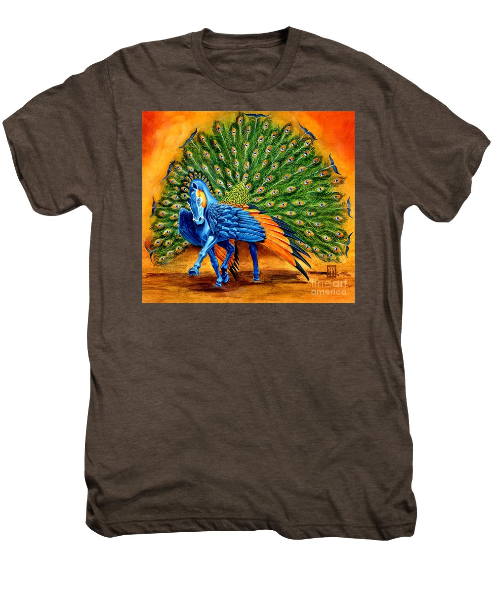Horse Men's Premium T-Shirt featuring the painting Peacock Pegasus by Melissa A Benson