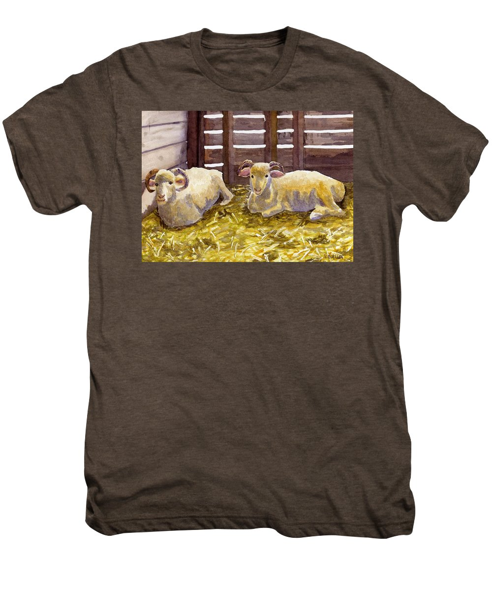 Sheep Men's Premium T-Shirt featuring the painting Pen Pals by Sharon E Allen