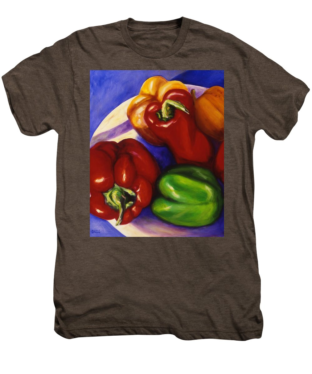 Still Life Peppers Men's Premium T-Shirt featuring the painting Peppers In The Round by Shannon Grissom