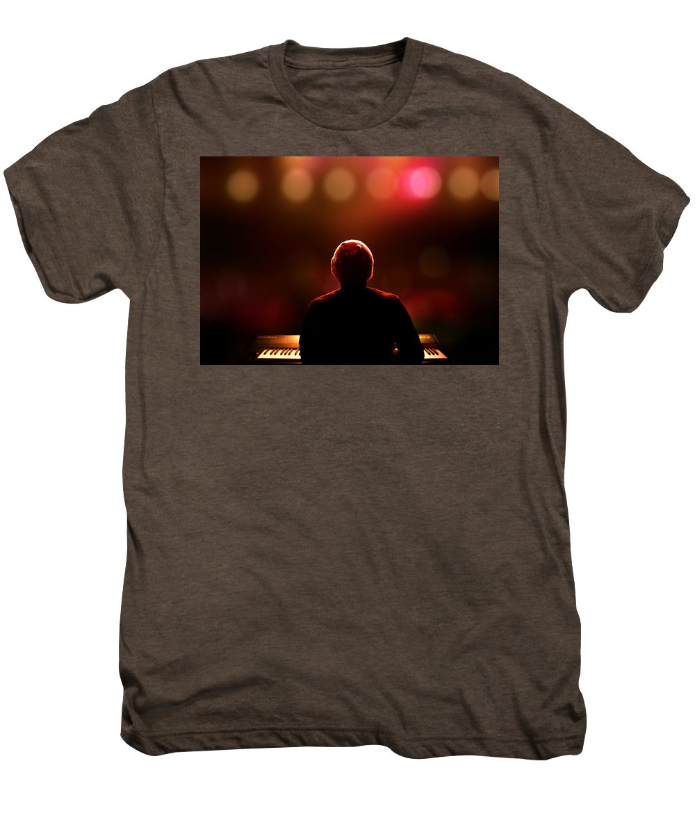 Pianist Men's Premium T-Shirt featuring the photograph Pianist On Stage From Behind by Johan Swanepoel