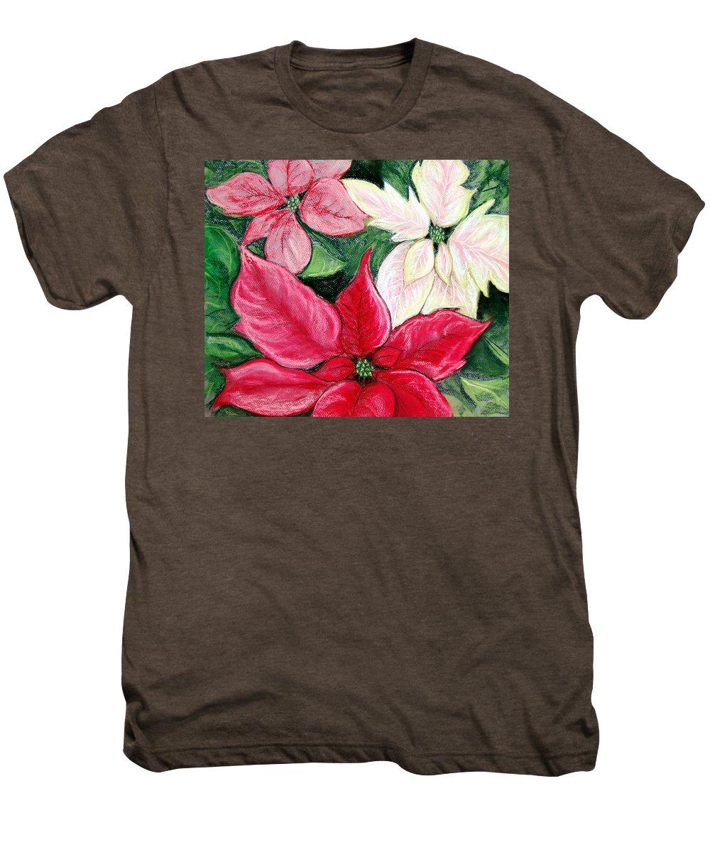 Poinsettia Men's Premium T-Shirt featuring the pastel Poinsettia Pastel by Nancy Mueller