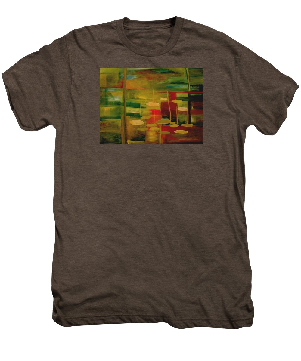 Pond Men's Premium T-Shirt featuring the painting Pond Reflections by Jun Jamosmos