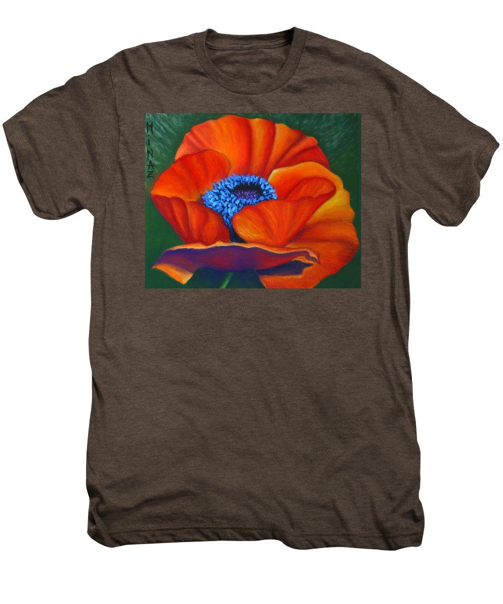 Red Flower Men's Premium T-Shirt featuring the painting Poppy Pleasure by Minaz Jantz