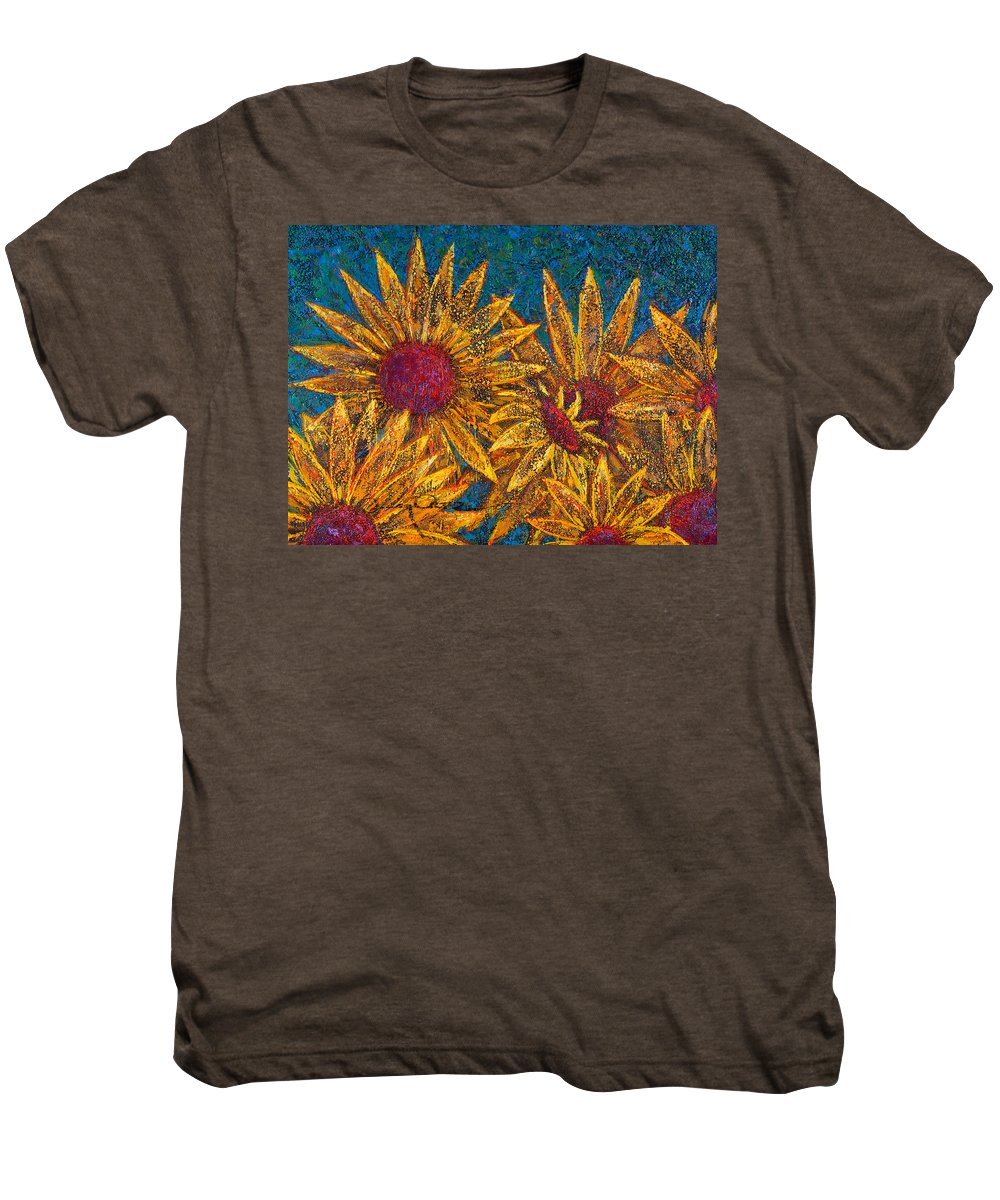 Flowers Men's Premium T-Shirt featuring the painting Positivity by Oscar Ortiz